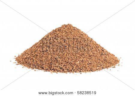 Pile Of Nutmeg Powder (myristica Fragrans) Isolated On White Background.