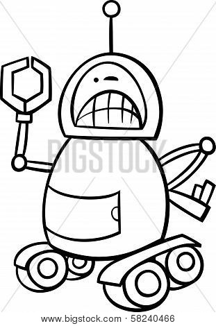 Angry Robot Cartoon Coloring Page