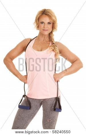 Mature Woman Band Around Neck Fitness