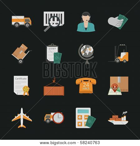 Logistics Icons With Black Background