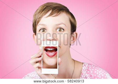 Woman Gossiping To Friends On Phone Video Chat