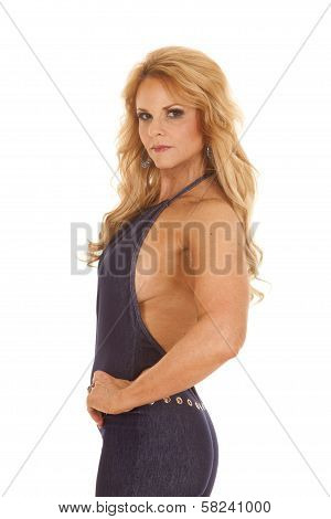 Mature Woman Denim Pantsuit Side Look