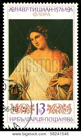 Vintage  Postage Stamp. Flora, By  Titian.