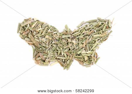 Rosemary (rosmarinus Officinalis) Isolated In Butterfly Shape On White Background..
