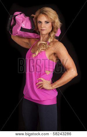 Mature Woman Pink Black Bag On Shoulder