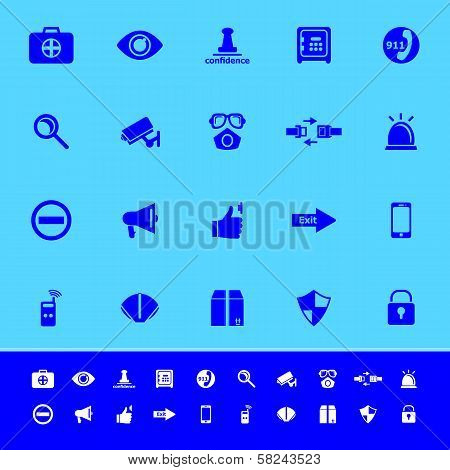 Security Color Icons On Blue Background