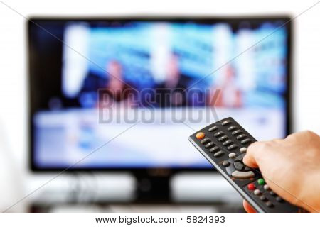 Tv Remote Isolated On White.