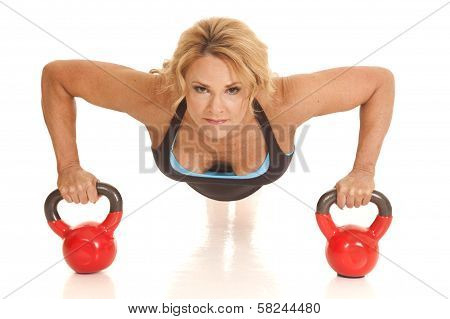 Mature Woman Pushup Front Kettle Bells Looking