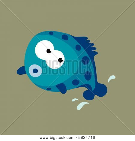 Jumping Blue Fish Vector