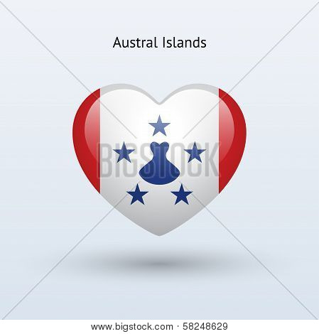 Love Austral Islands symbol. Heart flag icon.