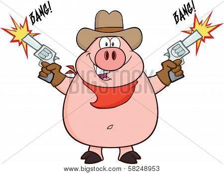 Cowboy Pig Cartoon Character Shooting With Two Guns