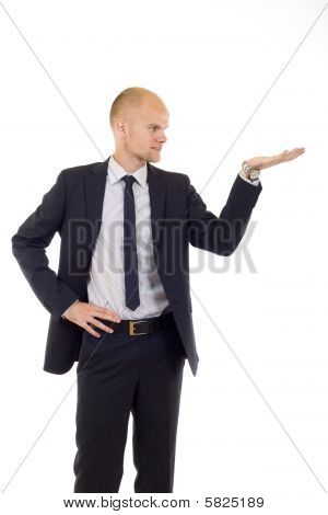 Young Cheerful Business Man Giving A Presentation