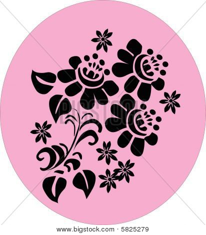 Three Conventionalized Flowers On Pink