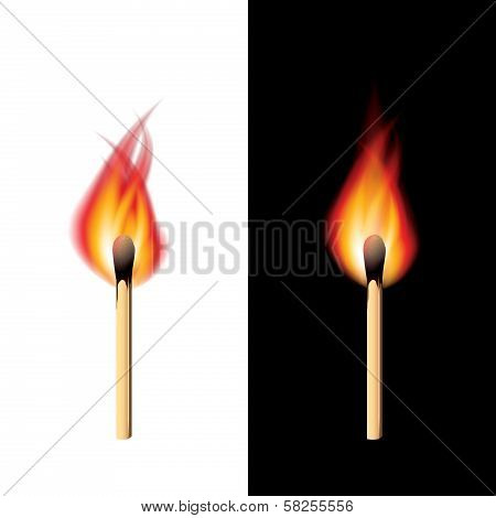 Burning Match Black And White Background Vector