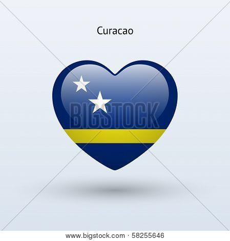 Love Curacao symbol. Heart flag icon.
