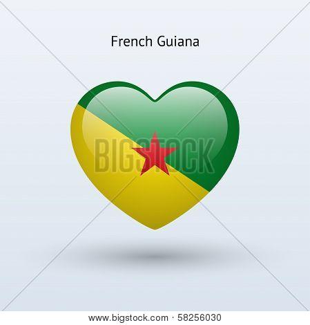 Love French Guiana symbol. Heart flag icon.