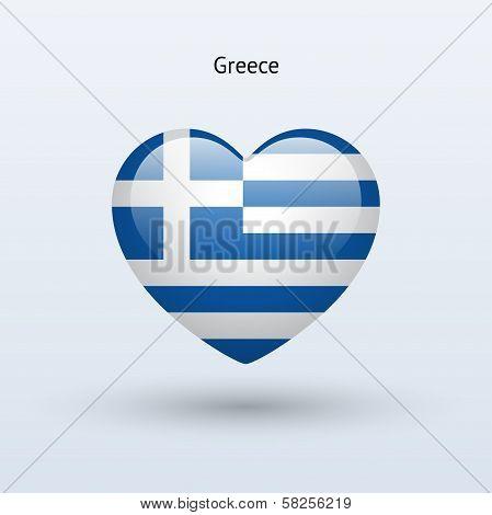 Love Greece symbol. Heart flag icon.