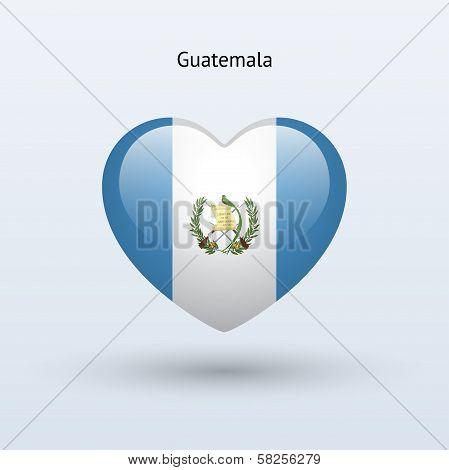 Love Guatemala symbol. Heart flag icon.