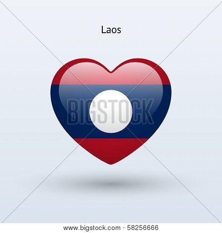 Love Laos symbol. Heart flag icon.