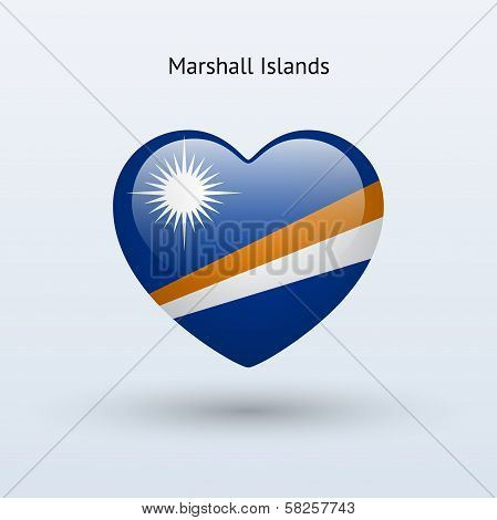 Love Marshall Islands symbol. Heart flag icon.