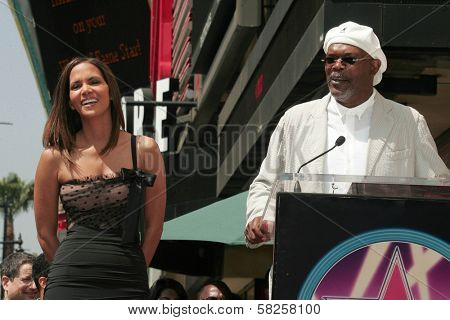 Halle Berry and Samuel Jackson at the ceremony honoring Halle Berry with the 2,333rd star on the Hollywood Walk of Fame. Hollywood Boulevard, Hollywood, CA. 04-03-07
