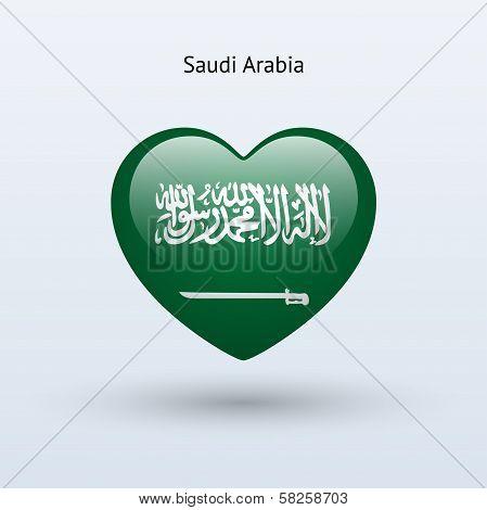 Love Saudi Arabia symbol. Heart flag icon.