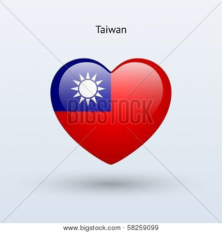 Love Taiwan symbol. Heart flag icon.
