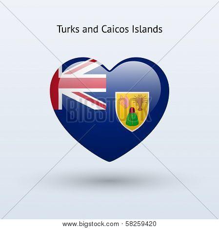 Love Turks and Caicos Islands symbol. Heart flag icon.