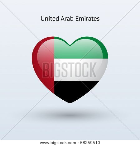 Love United Arab Emirates symbol. Heart flag icon.