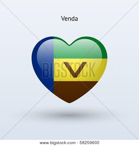 Love Venda symbol. Heart flag icon.