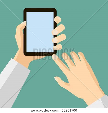 Flat Design Style Icon hand presses the select button on mobile device vector