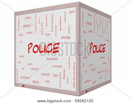 Police Word Cloud Concept On A 3D Cube Whiteboard
