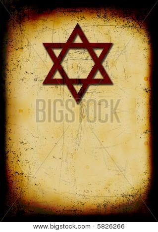 Grunge Jewish Burned Background With David Star