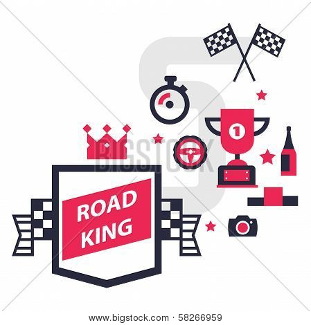 set of icons for registration of motor racing