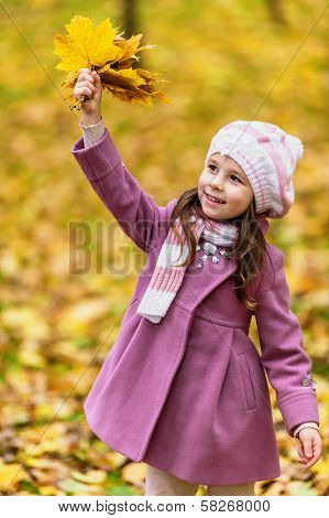 Little Girl With Yellow Maple Leaves