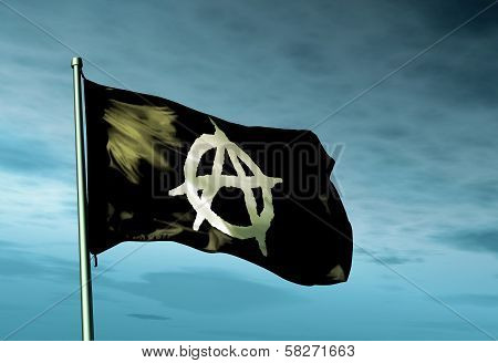 Anarchy flag waving on the wind