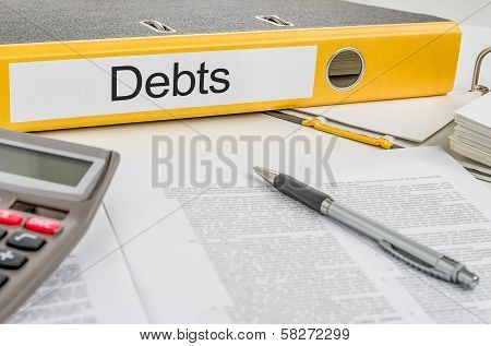 A yellow folder with the label Debts