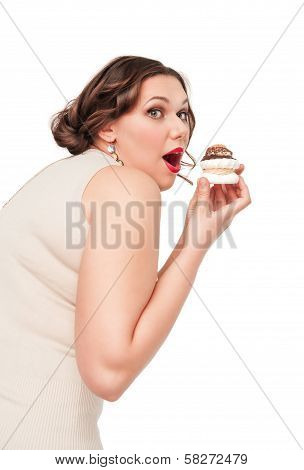 Beautiful Plus Size Woman Eating Pastr