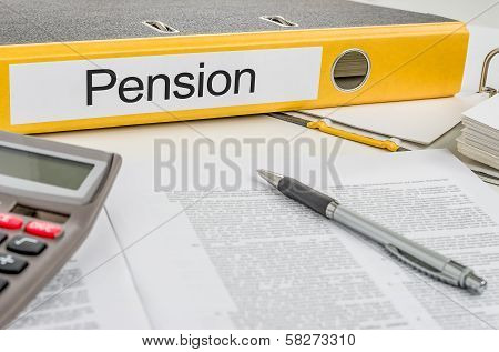 A yellow folder with the label Pension
