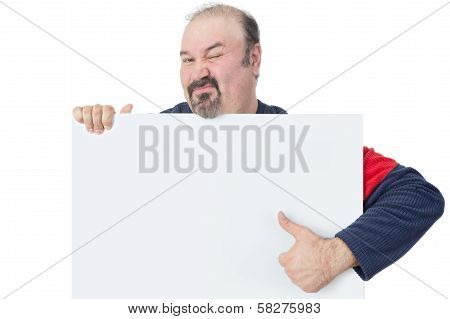 Man Holding A Blank Billboard And Giving Thumbs-up