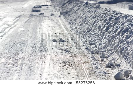 Side of Snow Plowed Street