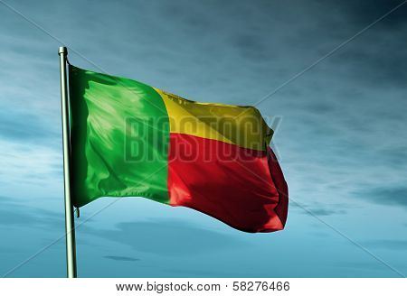 Benin flag waving in the evening