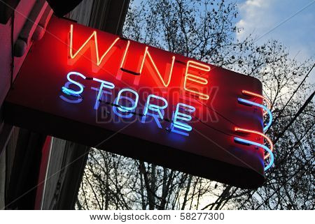 Neon Sign Over A Wine Store