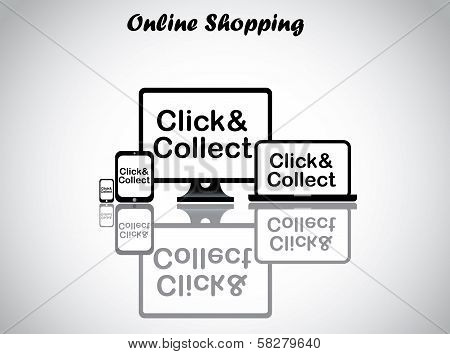 Online Shopping Concept Illustration - Click And Collect Text Displayed on electronic devices