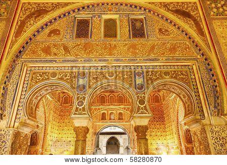 Horseshoe Arches Ambassador Room Alcazar Royal Palace Seville Spain