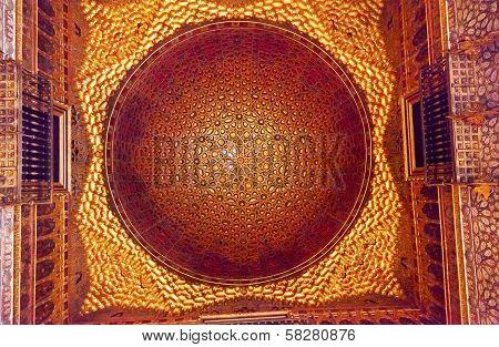 Orange Mosaic Celing Ambassador Room Alcazar Royal Palace Seville Spain