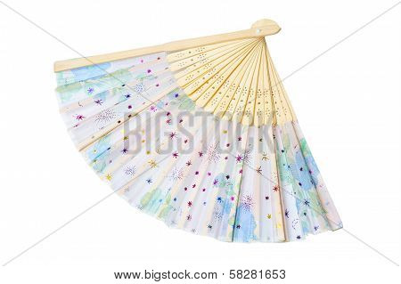 Isolated Opened Decorate Fan On White Background With Clipping Path