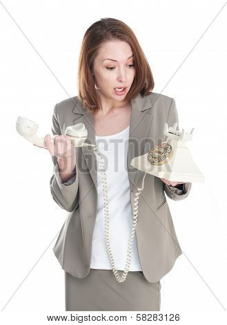 Funny Business Woman With Vintage Telephone Isolated On White Background