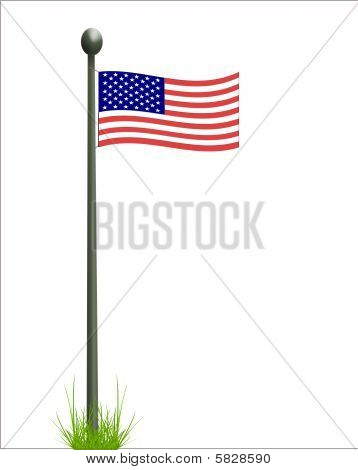 Curved Flag On Pole