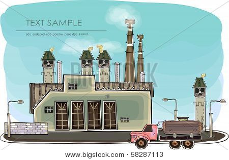Big factory illustration, power energy supplier concept